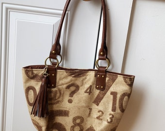 Waverly Fabric Handbag Purse And Counting Rustic Brown Ecru