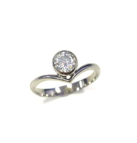 Offset Chevron Moissanite Engagement Ring in 14k White Gold - Minimalist - Round Brilliant Solitaire