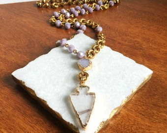 Purple Crystal Necklace // Rock Crystal Necklace, Quartz Necklace, Rosary Necklace, Arrowhead Necklace, Bohemian Necklace, Festival Necklace