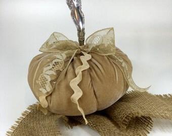 Velvet Pumpkin w/ vintage silver stem - BURLAP - Fairytale Pumpkin - Home Decor - Hand Dyed
