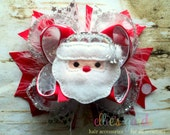 Christmas Santa Holiday Petite Sized Boutique Style Hair Bow Red Silver White Marabou