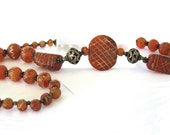 Ancient Etched Carnelian Beads Necklace, Persian, Bactrian,Light Orange Oval,Tabular,Small Round Beads, Ancient, c. 250 BC-650 AD,45Grams