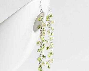 Long Light Green Beaded Cluster Earrings on Silver Plated Hooks, Wedding Jewelry