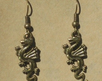 Small Brass Dragon Earrings
