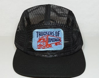 Truckers of America Vintage Patch on New Hat - Black All Mesh 5 Panel Strapback - Blue Patch