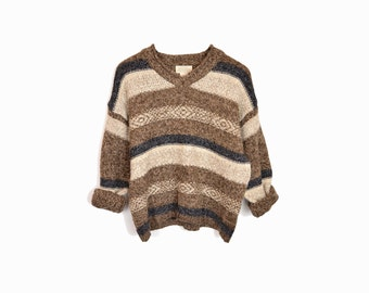 february sweater sale!! Vintage 90s Grunge Brown Sweater / Striped Wool Sweater