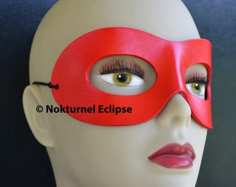Harley Quinn Red Leather Mask Superhero Masquerade Party Halloween Comic Con Cosplay Costume Unisex AVAILABLE In ANY COLOR