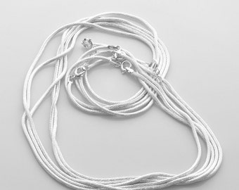 """16"""" Sterling silver chain - seamed snake chain 1.5mm round faceted VCSS16X15F"""