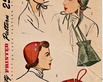 1940's Hat and Bag Pattern  SIMPLICITY 2963   WWII Era Hats and Drawstring Bag Pattern  One Size  1940's Accessories