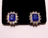 Blue Square Stone Clip On Earrings Silver Tone Vintage Avon Faceted Stone Round Rhinestones Raised Nail Heads