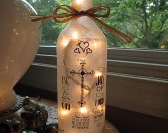 Christian Wine Bottle Light,christian,sister,mom,wine bottle lamp,wine bottle light,wine bottle lights,lighted bottles,lighted wine bottles