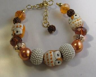 Orange Owl Beaded Bracelet