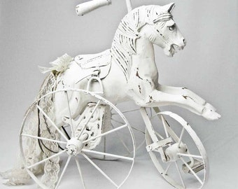 Carved Wood Horse Statue Childs Tricycle Replica on Wheels Hand Painted and Distressed in White French Nordic Home Decor Tabletop Decor