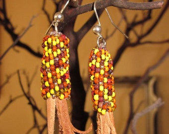 Fall Seed Beaded Corn Earrings . Peyote Tubular . Leather Shucks . Sterling Silver Ear Wires . Thanksgiving . Halloween . October . Handmade