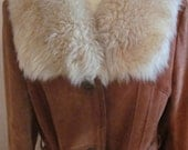 Glam 70's trench with Huge Sheepskin Collar fully lined LARGE
