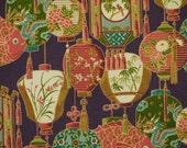 1/4 YARD, Purple Pink Green, Paper Lanterns Print, Quilting Cotton Fabric, 20 x 18, B44