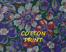 Purple Gray Red Floral Print, Quilting Cotton Fabric, Peter Pan, Summer Flowers, Dark Green, half yard, B30