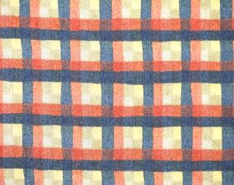1 YARD, Blue Orange, Windowpane Plaid Print, Quilting Cotton Fabric, Moda, Pieces From My Heart, Sandy Goweis, B33
