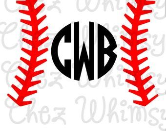 Baseball Ball Stitches SVG Baseball Monogram Cut File Baseball and Bat SVG for Cricut Cutters Digital Files for Cutting