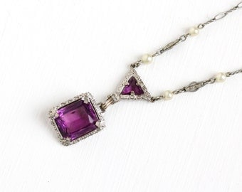 Vintage Art Deco Purple Glass Necklace - Silver Tone 1930 Simulated Amethyst Purple Glass Filigree Lavalier Pendant Paperclip Chain Jewelry