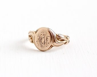 Sale - Antique Art Nouveau Monogrammed HH 10k Rose Gold Ring - Vintage Early 1900s Edwardian Art Deco Filigree Initial Fine Signet Jewelry