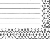 Lined writing paper stationery page, printable adult coloring page