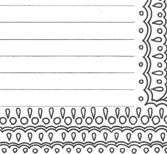lined writing paper stationery page printable adult coloring. Black Bedroom Furniture Sets. Home Design Ideas