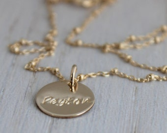 one name necklace, 14k gold filled name tag necklace, push present, necklace with one name, gold name tag, new mommy necklace