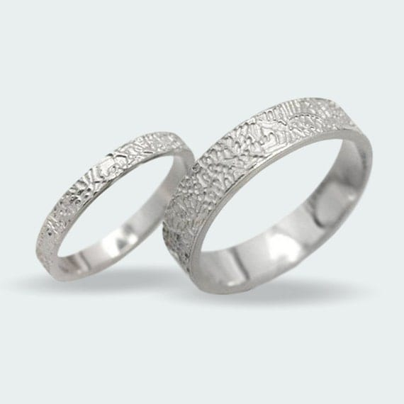 matching wedding bands with an organic rustic texture unique