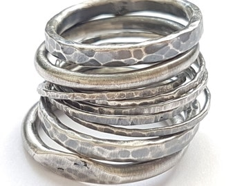 Silver Stacking Rings, Oxidized Stackable Rings, Trendy Sterling Silver Rings, 13mm Wide Statement Ring Set, Handmade Rings, Venexia Jewelry
