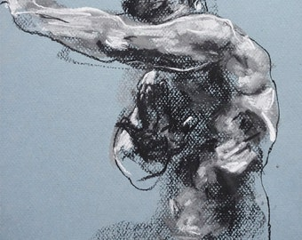 "Classical Male Figure Drawing - Drawing 462 - 9 x 12"" charcoal and pastel on blue paper, original drawing"