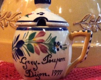 French Country Faience Mustard Jar, Quimper