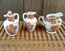 Vintage Oil and Vinegar Cruets and Creamer, Nasco Mountian Woodland, Brown Transfer Ware, Made in Japan