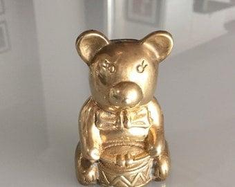 Brass Teddy Bear Holding A Drum/ Mid Century Brass Bear/Teddy Bear/ By Gatormom13