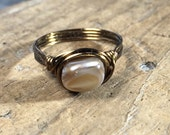 SALE - size 8 - natural creamy tan off white shell , antique brass gold ring - beachy simple women teen girl boy men unisex jewelry