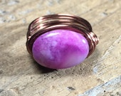 size 6.5 , 6 1/4 -purple Crazy Agate stone antique copper wire wrapped ring -  bohemian hippie natural jewelry - men women unisex
