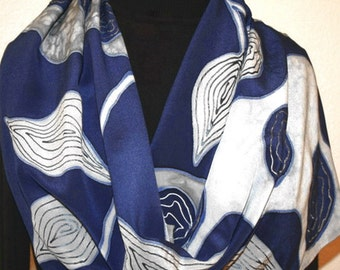 Navy Blue, White Silk Scarf. Black White Silk Scarf. Hand Painted Silk Scarf JAPANESE GARDEN. 11x60. Anniversary Gift, Mother Gift.