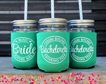 Drinking Team, Cheers Bitches, Bachelorette Party Cup,  Bachelorette Tumbler, Emerald Green