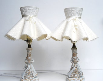 VTG Ceramic Table Lamps, Twin Set of 2, Princess Girls Room, Bedside White Gold
