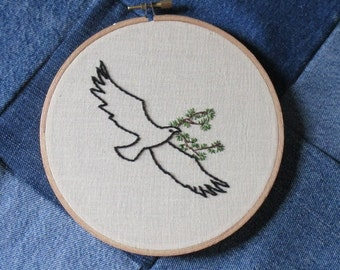 "Eagle Hand Embroidery Eagle Picture Eagle with Cedar Tree Line Drawing Art Picture Bird Wall Hanging 6"" Hoop Art Bird Bible Embroidery"