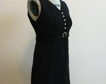 Dress black MINI rhinestone 1960s MOD buttons and belt by Lanz M