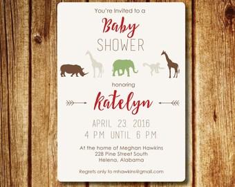 Modern Safari Baby Shower Invitation; Jungle Baby Shower; Printable Custom Invitation