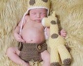 Crochet Newborn Giraffe Gift Set (Newborn Hat and a Stuffed Animal) Made To Order