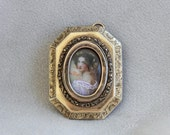 Victorian Miniature Beautiful Lady Portrait Pendant in Engraved 10k Gold Frame