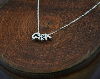 Couples Initials Necklace - Silver Alphabet Necklace, Tiny Initial Necklace, Boyfriend Girlfriend, Anniversary Gift for Her, Husband Wife