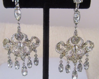 "1940s ""Coro"" Rhinestone Dangle Earrings"