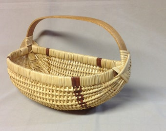 SALE - Hand Woven Basket with Oak Handle, Wall, Mail, Hanging Basket, Yellow Cedar Bark Accents