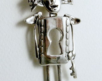 Angel Kate Holds The Key - Up Cycled Sterling, And PMC - Echo Friendly - Women - Strength - Empowerment - Art Jewelry Pendant - 1906