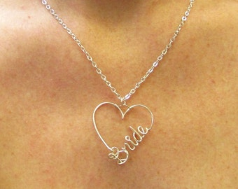 Bride Gift, Bride Necklace, Personalized Word Necklace, Custom Name, Name in a Heart, Personalized Bridesmaid Gift, Jewelry gifts under 20