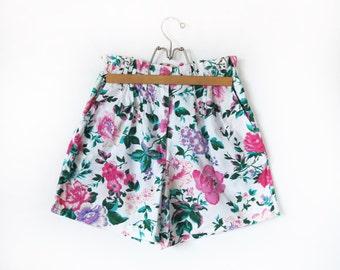 Vintage Floral 1980s 1990s Womens High Waisted Shorts Pink Aqua Teal Elastic Waist Small Medium